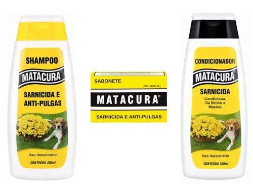 Kit Shampoo, Condicionador e sabonete Matacura anti pulgas e sarnicida