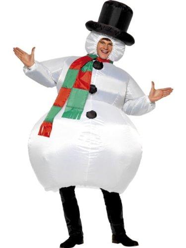 Smiffys Costume bonhomme de neige gonflable, Blanc, avec combinaison, chapeau, foulard e
