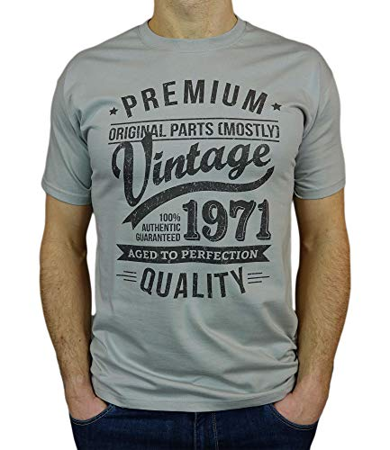 My Generation Gifts Vintage Year - Aged to Perfection - 50 Cumpleaños Años - Regalo de Cumpleaños Camiseta para Hombre - Zinc Gris 2XL