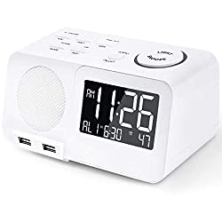 Alarm Clock Radio FM Digital Led Display Radio with USB Port Dimmer Snooze Sleep Timer Dual Alarms for Bedroom (with DC Adapter)