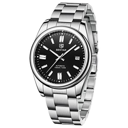 BENYAR Casual Minimalista Hombres Relojes Automáticos Stianless Acero Impermeable Luminoso Moda Vestido Mecánico Reloj, 5185-negro,