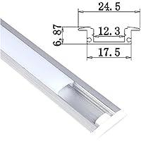 Jandei - Perfil Aluminio Tira led 2 Metros empotrar Tapa Redondeada traslúcida 24,5x17,5mm
