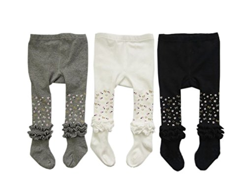Taiycyxgan Baby Girls Ruffle Cotton Tights Infant Stocking Leggings Pants 3-Pack 0-4T 3-Pack 2-4T