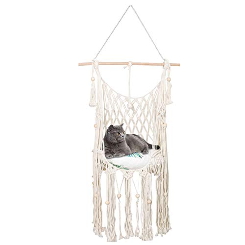 DTT Macrame Cat Hammock Bed Decorative Macrame Wall Hanging Shelf Handwoven Swing Bed Pet Hanging Hammock for Home Decoration Cute