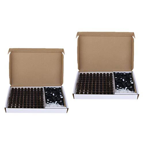 MERIGLARE 200pcs 1 + 2ml Mini Ambre Verre Bouteille avec Réducteur D'orifice et Bouchons Noir, Sécurisé et Pratique