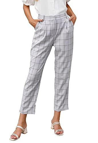 Women's Casual Mid Waist Plaid Zip Pocket Side Pants CL36-Light Gray XL