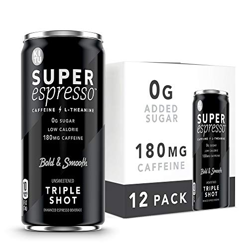 Kitu Super Espresso, SugarFree Keto Coffee Cans (0g Sugar, 0 Calories) [Triple Shot] 6 Fl Oz, 12 Pack | Iced Coffee, Canned Coffee - Vegan, DairyFree, GlutenFree - From the Super Coffee Family