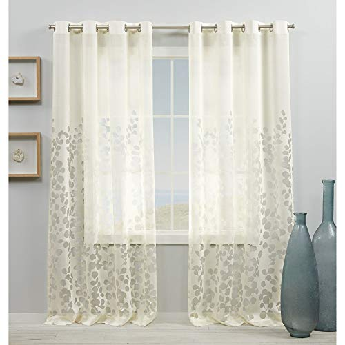Exclusive Home Curtains Wilshire Burnout Sheer Window Curtain Panel Pair with Grommet Top, 54x84, Ivory