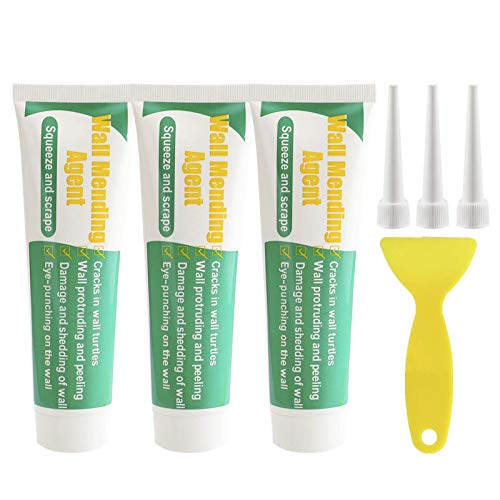 Wall Mending Agent Kit - 3Pcs Wall Repair Cream, 3Pcs Nozzle Extender, 1Pcs Scraper - Drywall Patch for Quick & Easy Solution to Fill The Holes and Crack in Your Wall Surface