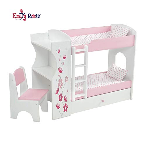 Emily Rose 18 Inch Doll Bed Furniture for American Girl Dolls | Doll Bunk Bed & Desk Combo, Includes Doll Bedding | Fits 18' American Girl Dolls