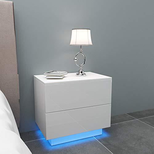 YOLEO Comodino Bianco Lucido con LED (55x37x50 cm) / 2 Frontale Cassettiera in Truciolare - Illuminazione a LED - per Camera da Letto, Bianco Brillante