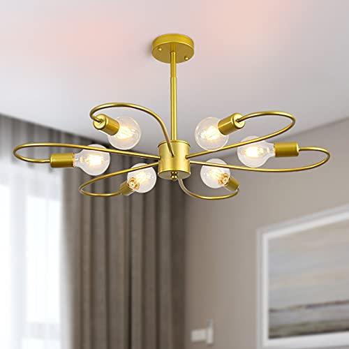 Qcyuui - Candelabros modernos dorados, 6 luces, lámpara de techo de montaje semi empotrado, iluminación colgante Sputnik de mediados de siglo, altura ajustable para dormitorio, comedor, sala de estar
