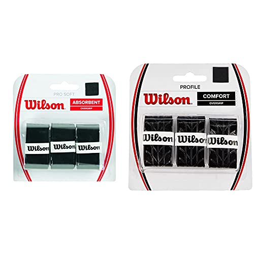 Wilson Grip Wrz4040Bk Impugnatura PRO Soft Overgrip, Unisex, Nero, 3 unità & Profile, Overgrip, 3 Pezzi Unisex – Adulto, Nero, Taglia Unica
