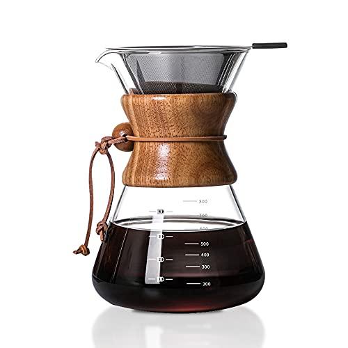 ISKM Manuell Pour Over Kaffeebereiter Kaffeekanne Kaffeezubereiter Kaffeemaschine Karaffe Kaffeefilter Pressfilterkanne Borosilikatglas mit Dauerfilter aus Edelstahl (800ml)