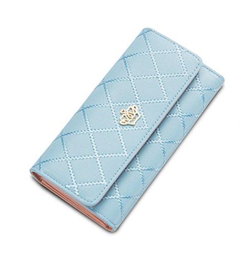 DNFC Geldbörse Damen Portemonnaie Lang Portmonee Schicke Handtasche PU Leder Geldtasche mit Vielen Kartenfächern Geldbeutel für Frauen (Hellblau)