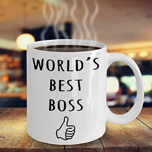 """DKISEE Tasse mit Aufschrift \""""World\'s Best Boss\"""", Geschenk zum Geburtstag, für den Boss, als Wertschätzungsgeschenk, für den Büroboss, 313 ml"""
