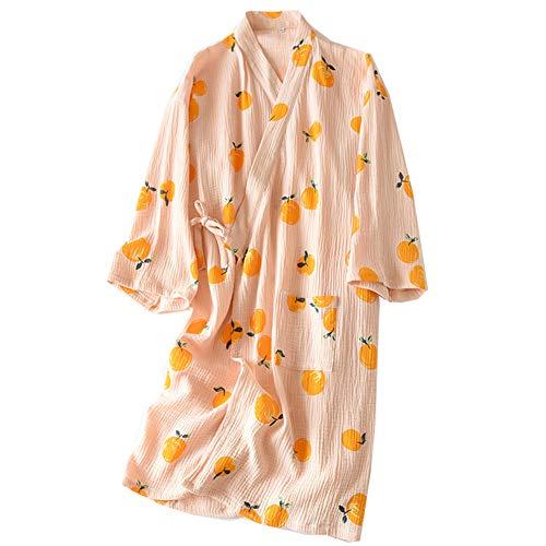 Fancy Pumpkin Bata de Algodón Japonesa para Mujer Bata de Pijama Kimono [Flor A]