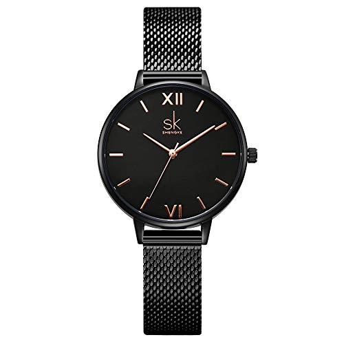 SHENGKE- Reloj de Pulsera para Mujer, Correa de Malla, Elegante, para Mujer, Estilo Simplicidad (K0039-black-mesh Band)