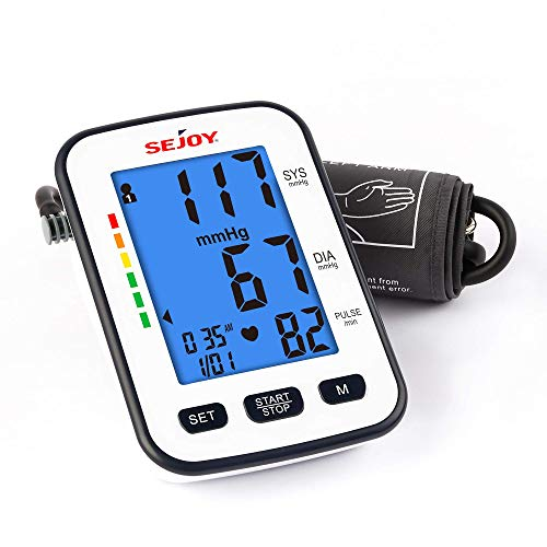 Blood Pressure Monitor, Upper Arm, Automatic Digital BP Machine, Adjustable Large Cuff Kit for Home Use, Pulse Rate Monitoring Meter, Large Backlit Display, Voice Broadcast