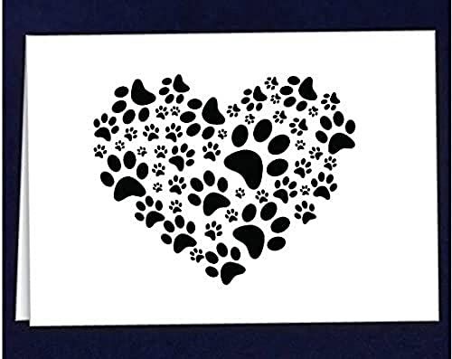 Fundraising For A Cause | Paw Print Note Cards Stationary - Thank You Cards with Envelopes- Pet Paw Print Blank Cards for All Occasions (Pack of 1-12 Cards)
