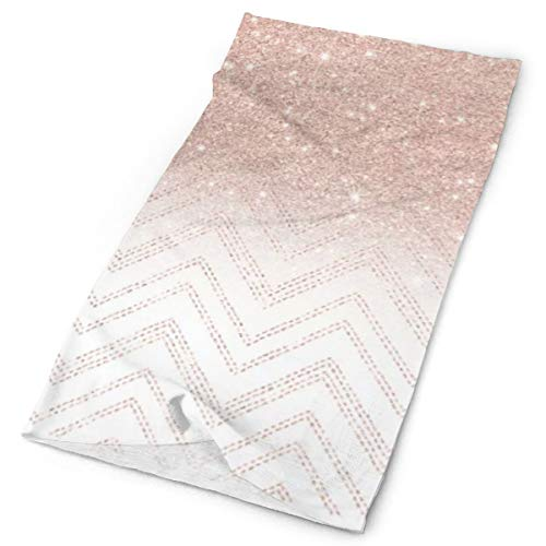 Moderno imitación de oro rosa con purpurina ombre moderno de puntadas chevron, patrón de arte multifuncional, elástico, para exteriores, transpirable, protección UV, para la cara, calentador, pulsera para todo el año