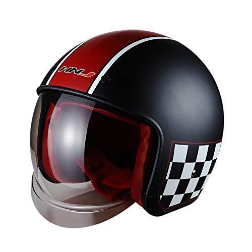 AH&Y Moto piloto Cascos Jet Casco de Motocicleta Vespa Casco Bobber ciclomotor Casco Chopper Retro del Crucero del Motorista Visera L (57 ~ los 59CM),A,M(55~57CM)