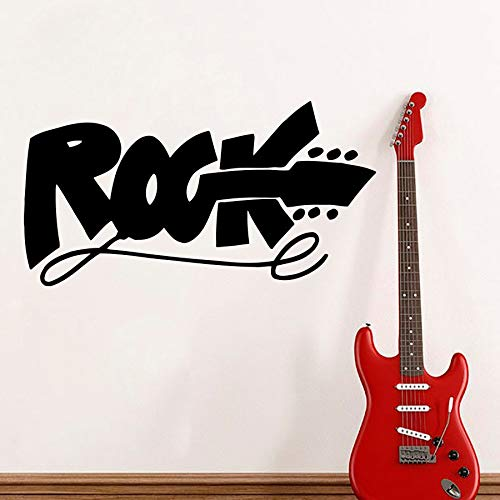 ganlanshu Heißer Moderne Musik Studio wandtattoo Rock Logo e-Gitarre Kinder wandaufkleber Teen Zimmer Club 42 cm X 78 cm