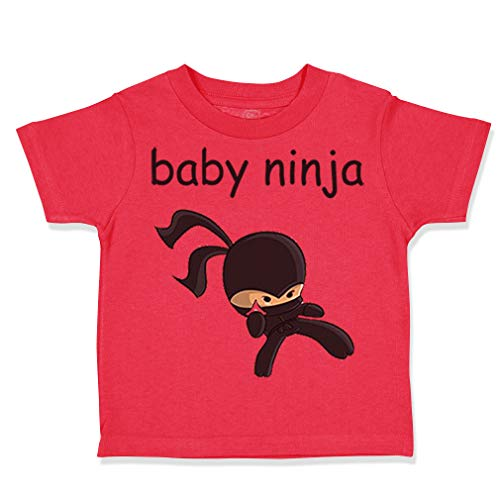 Custom Toddler T-Shirt Baby Ninja Halloween Costume Style B Cotton Boy & Girl Clothes Funny Graphic Tee Red Design Only 24 Months