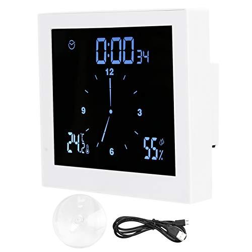 Badezimmer-Dusche-Uhr, Digitale Badezimmer-Uhr Ip65-Dusche-Uhr wasserdichte Quadratische Badezimmer-Uhr mit Festem Saugnapf wasserdichte Silikon-Loch-Touch-Tasten(Weiß)