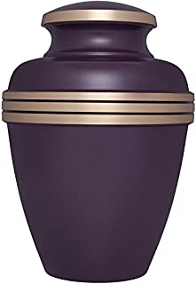 Purple Funeral Urn by Liliane Memorials - Cremation Urn for Human Ashes - Hand Made in Brass - Suitable for Cemetery Burial or Niche - Large Size fits remains of Adults up to 200 lbs - Viola Model