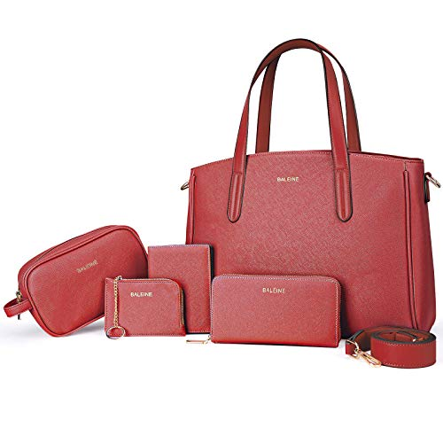 BALEINE 5 Pcs Handbag Set, Womens Handbags with Shoulder Bags, Small purse, Wallet, Cosmetic Hand Bag and Card Holder, Red