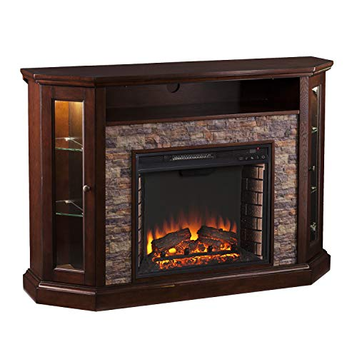 SEI Furniture Redden Faux Stone Convertible Electric Media Storage Corner Fireplace, Fresh White