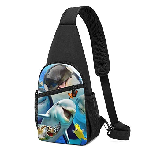JONINOT Lovely Ocean Animals Cute Selfie Daypack Mochila con honda, mochila en el pecho, bolsa deportiva, bandolera cruzada