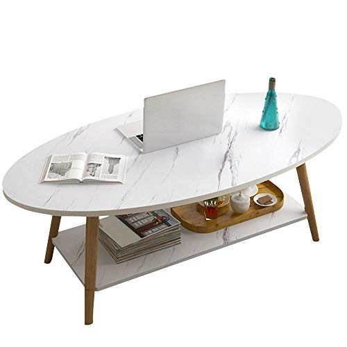 Bakaji Tavolino Divano Tavolo Caffè da Salotto Ovale Design Moderno Struttura Legno MDF con Ripiano Inferiore Piano d'appoggio Effetto marmo Scuro Dimensione 100 x 50 x 42 cm Bianco