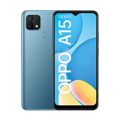 OPPO A15 Smartphone, 6,5 Zoll HD+ Bildschirm, 4.230 mAh Akku + 10W Schnellladen, 13 MP Dreifach-Kamera, Dual-SIM + mSD , Speichererweiterung bis zu 256 GB Mystery Blue – Deutsche Version