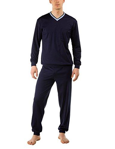 Calida Herren Pyjama Bündchen Chill Out Zweiteiliger Schlafanzug, Blau (Dark Blue 449), X-Large (Herstellergröße: XL=54/56)