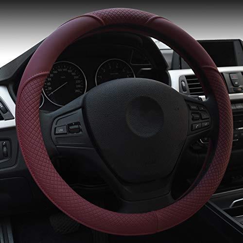 HCMAX Microfibra Vehículo del volante de dirección cubierta de la rueda del coche Calidad cómodo protector universal Diámetro Rojo