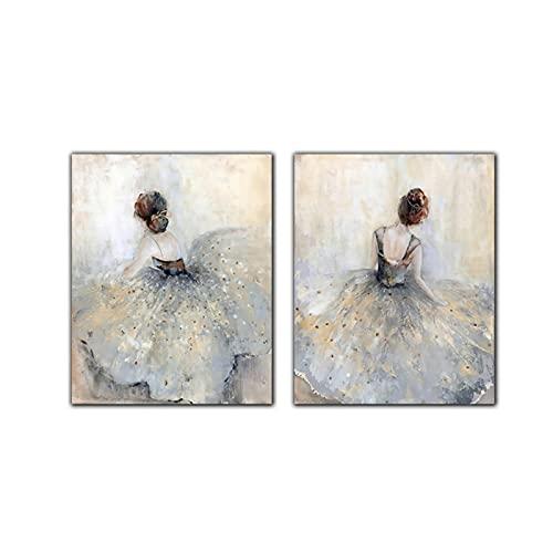 Elegantes Carteles e Impresiones de Bailarina de Ballet, Foto, Retrato de niña, Zapatos, Cuadros artísticos de Pared, Pintura en Lienzo, decoración del hogar, (50x70cm) x2pcsNoFrame