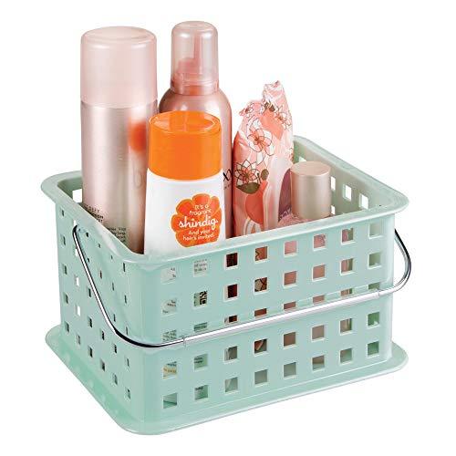 iDesign Basic Aufbewahrungkorb, kleiner Badkorb aus Kunststoff für Dusch- und Pflegezubehör, mintgrün