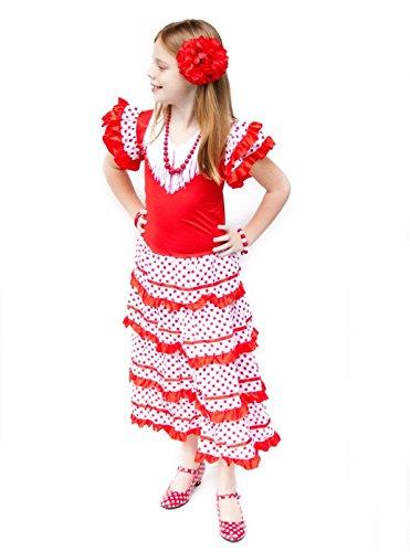 La Senorita Robe Espagnol Flamenco/Costume - pour Filles/Enfants - Rouge/Blanc - Taille 128-134 - Longeur 85 cm