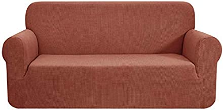 CHUN YI Stretch Sofa Slipcover 1-Piece Couch Cover, 3 Seater Coat Soft with Elastic, Checks Spandex Jacquard Fabric, Large, Brick
