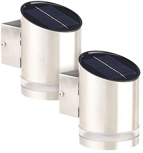 Lunartec Wandlampe: 2er-Set Elegante Solar-LED-Wandleuchte für den Außenbereich, Edelstahl (Wandstrahler)