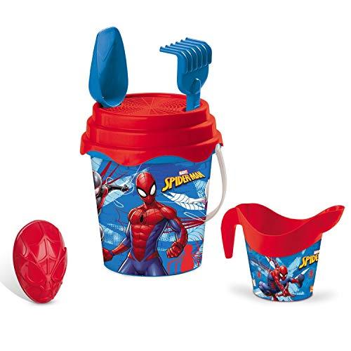 Mondo- 048450 - Outillage De Jardin Pour Enfant - Seau Garni Arrosoir - Spiderman - 17 Cm