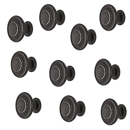 Gedotec meubelgreep antiek ijzer-zwart - metalen meubelknop vintage - HELLAS | kastknop keuken voor laden & kastdeuren | ronde knop Ø 10 mm | 1 stuk - design meubelknop rond met schroeven modern 10 Stück IJzer gezwart