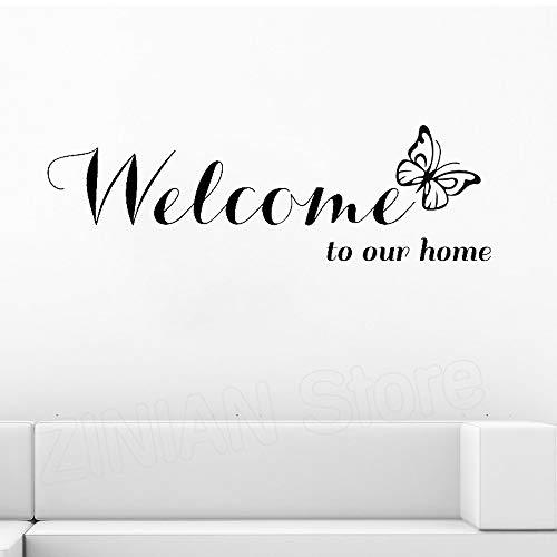 yaonuli Sticker huisdecoratie Welkom bij ons huis tekst patroon muurstickers huisdecoratie woonkamer decoratie decal