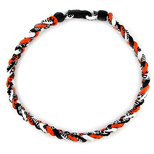 "MapofBeauty 18"" Sport Three Colors Three Braided Rope Tornado Necklace (Orange/Black/White)"