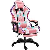 LED-Licht Racing Gaming Stuhl Für Erwachsene, Ergonomischer Gaming Stuhl Mit Bluetooth-Lautsprecher Und Massagefunktion, Drehbarer Höhenverstellbarer Videospielstuhl,Pink White