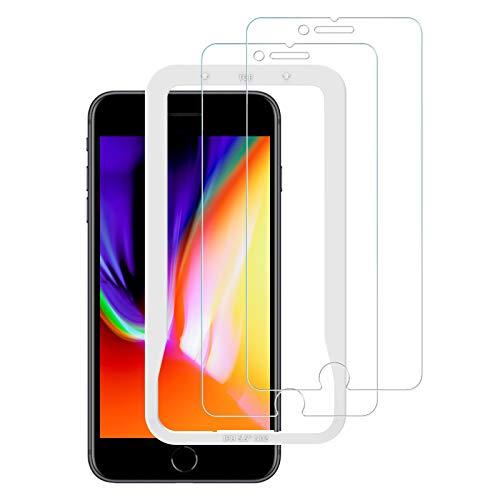 【2枚セット】NIMASO iPhone8plus 用 ガラスフィルム iPhone7plus 強化 ガラス 液晶保護 フイルム【ガイド枠付き】