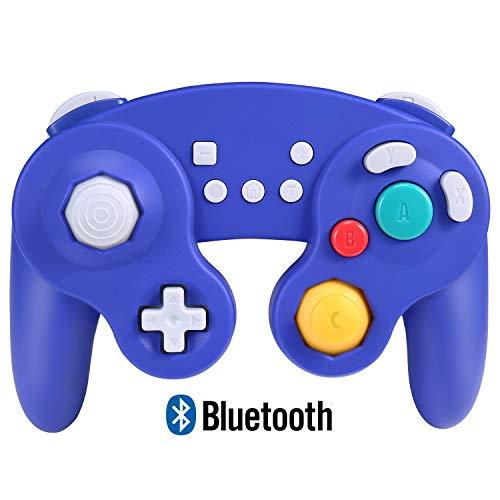 Exlene Wireless Controller Gamepad pour Nintendo Switch, Rechargeable, Compatible avec PC / PS3, GameCube Style, Motion Controls, Rumble, Turbo (Bleu)