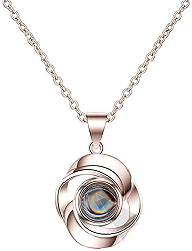 LKLFC Necklace Women Necklace Men Necklace 925 Necklace Custom Photo Necklace 100 Different Languages ​​I Love You Necklace Rose Pendant Gift Girls Boys Necklace
